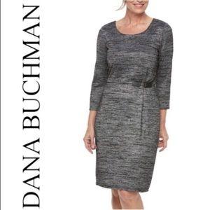 Dana Buchman warm luxe side buckle 3/4 sleve dress